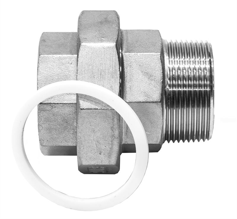 Flat union male female stainless steel
