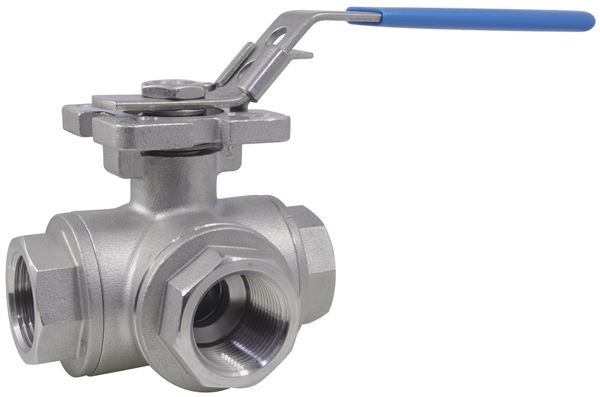 Three Way Reduced Bore T-Port Ball Valve BSPP 1000PSI 316 Stainless Steel