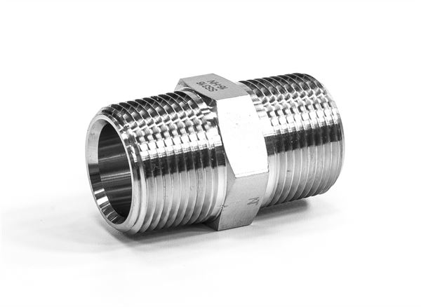 Hydraulic Hexagon Nipple BSPT/NPT 316 Stainless Steel