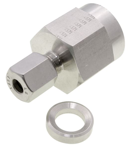 Female Pressure Gauge Coupling NPT Single Ferrule Compression 316 Stainless Steel